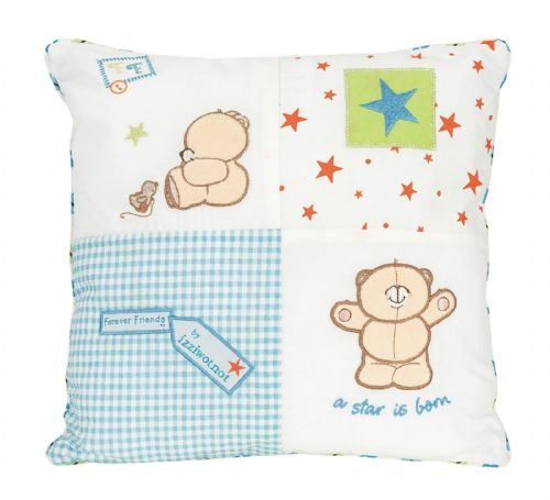 'IZZIWOTNOT' FOREVER FRIENDS BLUE COLOUR FILLED SQUARE CUSHION